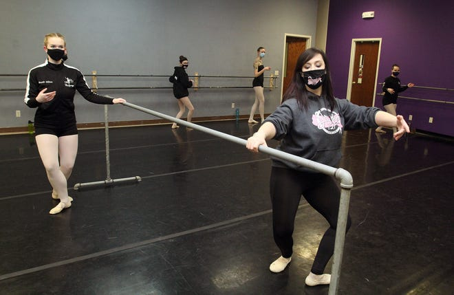 Sarah Long, right, instructs her class of dancers on Monday, Feb. 15, 2021, at Studio 121 in Freeport.