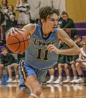 Zane West scored 14 points Saturday afternoon for Evans in the Eagles' home loss to the Simpson Broncos, 77-54.