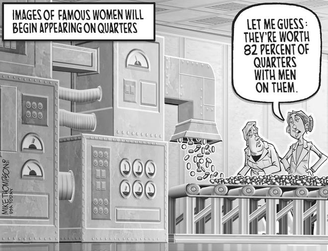 A Mike Thompson cartoon about the gender wage gap