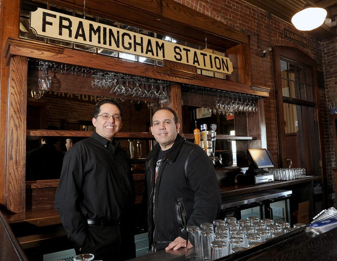 Joao Bruno Trindade, left, and Edilson Oliveira are co-owners of Framingham Station, a Brazilian steakhouse on Waverly Street.