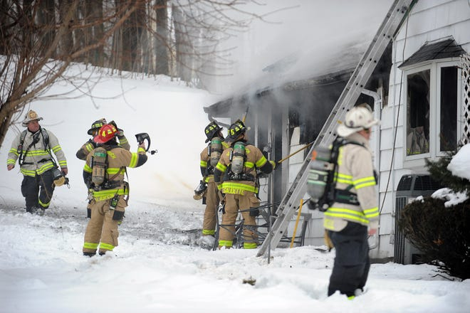 Southborough firefighters, with mutual aid assistance from Ashland, Marlborough, Westborough and Framingham, extinguished a smoky house fire at 32 Framingham Road Feb. 16, 2021.