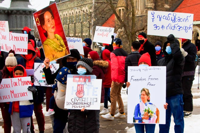 Burmese refugees rallied on Oneida Square in Utica on Feb. 12 in hopes to stir international support for democracy in their homeland.