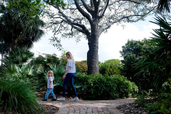 Wyatt Savage, 2, and his mother Leigh, of Delray Beach, walk past a live oak tree at Pan's Garden that has been added to the town's historic and specimen tree list.