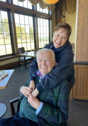 Carleton Varney visits with Sheila C. Johnson at the Salamander Resort & Spa in Middleburg, Virginia.