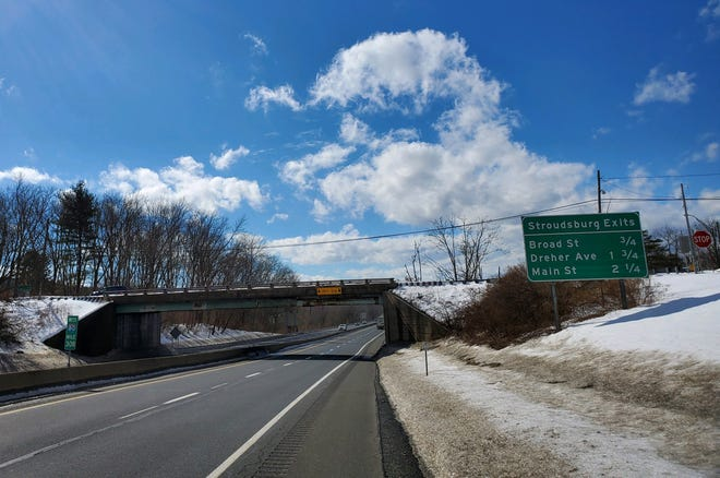 Interstate 80 was quiet near the Prospect Street overpass in East Stroudsburg on Tuesday, Feb. 16, 2021. Police say a suicidal man jumped from the overpass on Monday and was taken to the hospital. It was the second mental health incident in less than two months on Route 80 since 19-year-old Christian Hall was shot and killed by Pennsylvania State Troopers in December, 2020.