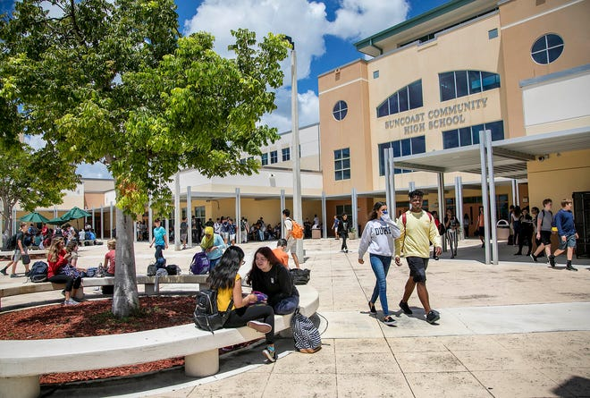 Suncoast High School students during their school wide lunch period Friday Aug. 17, 2018, in Riviera Beach.