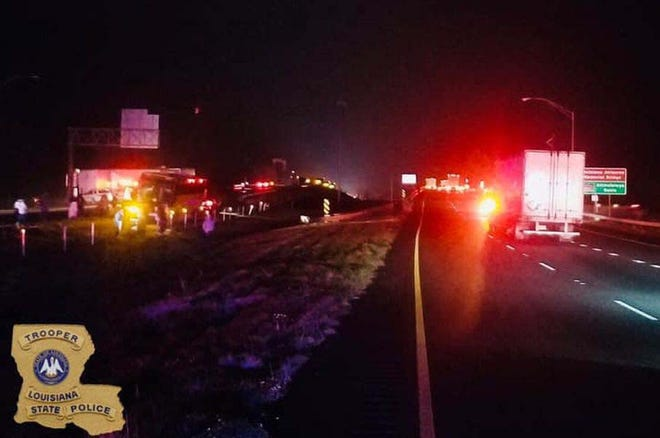 Icy conditions along I-10 led to multiple accidents Sunday night along the Whiskey Bay Bridge at the border of Iberville and St. Martin parishes.