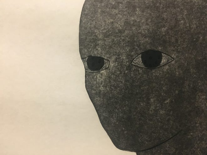 """A detail from """"La consagración II (The consecration II)."""" Belkis Ayón, 1991. Collograph in 12 parts. Ayón's noseless and mouthless figures leave the eyes to express deep figurative emotion."""