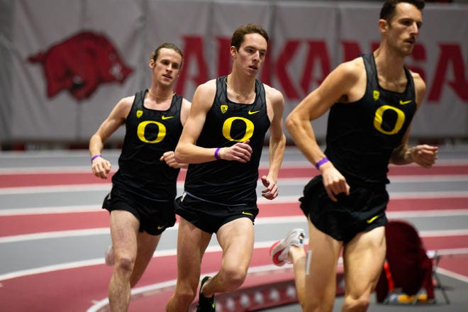 Oregon runners Cole Hocker (left), Cooper Teare (center) and Charlie Hunter are all entered in the NCAA Indoor Track & Field Championship meet next week.