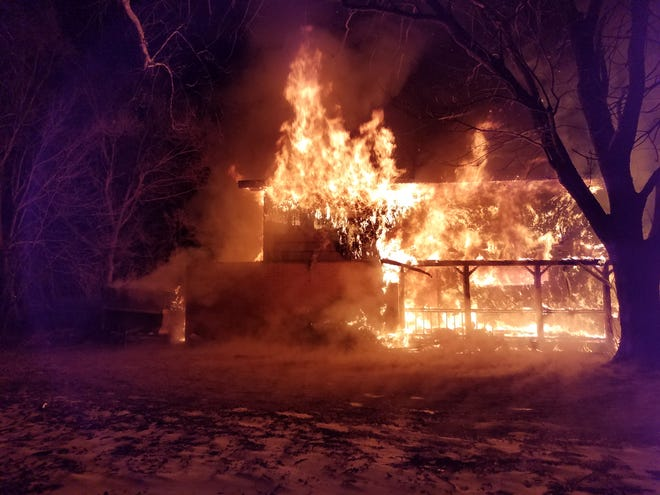 A fire caused a total loss to a house at 3192 N. Weaver Road on Monday night.