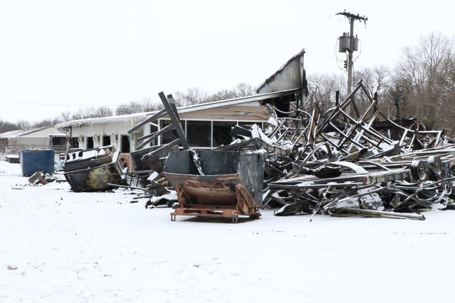A part of the Darkhorse Cargo property destroyed by fire Sunday in Mottville Township is pictured.
