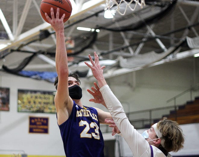 Tyler Swanwick of Centreville soars in for a layup against Bronson in prep hoops action on Monday.