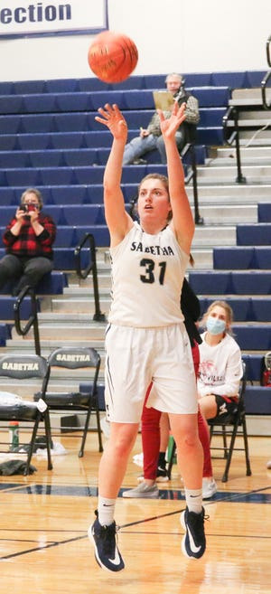 Sabetha's Leah Renyer came up big for the Bluejays in two wins last week, including a 22-point effort in Sabetha's 41-31 upset of Class 3A No. 2 Nemaha Central that ended the Thunder's 39-game winning streak. Renyer averaged 17.5 points and 7.5 rebounds in the two wins.
