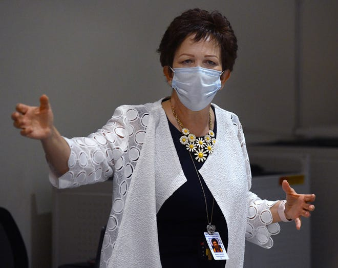 Taft Union Superintendent Blanca Cavazos at a board meeting in July 2020. She is planning to retire at the end of 2021.