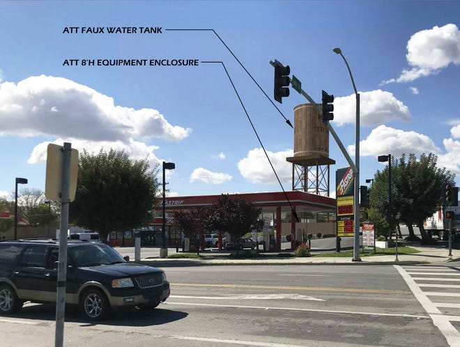 View of how cell tower will look from north side of intersection of Tenth and Kern