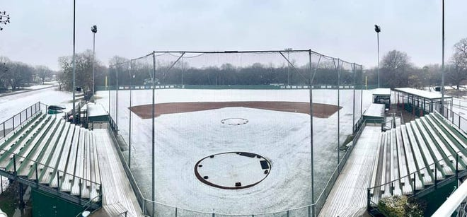 A snow-covered Richards Park sits empty during the year's first winter storm in January. The latest Arctic blast has put sports on hold at Waxahachie High School and across Ellis County as another wave of wintry weather was expected to arrive on Wednesday.