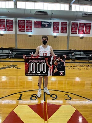 Dylan Ahearn, of Marshfield, scored his 1,000th point Feb. 13 at St. Andrews School in Rhode Island.