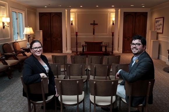 Richardson-Gaffey funeral directors Sara Collins and Mike McCormack have had to using their creativity and good judgment to keep client families, and themselves, safe while handling funeral arrangements during the COVID-19 pandemic.