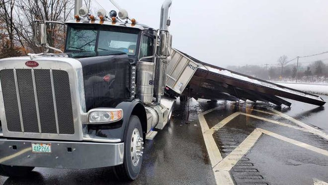 A tractor-trailer spilled its load in the roadway on Route 9 in Westborough on Tuesday morning.