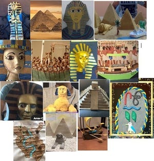 Ancient Egypt projects by Monroe Township Middle School students.