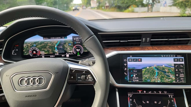 With Google maps enabled in the 2020 Audi A6 Allroad, the twin touchscreens make for a beautiful view of the surrounding landscape.