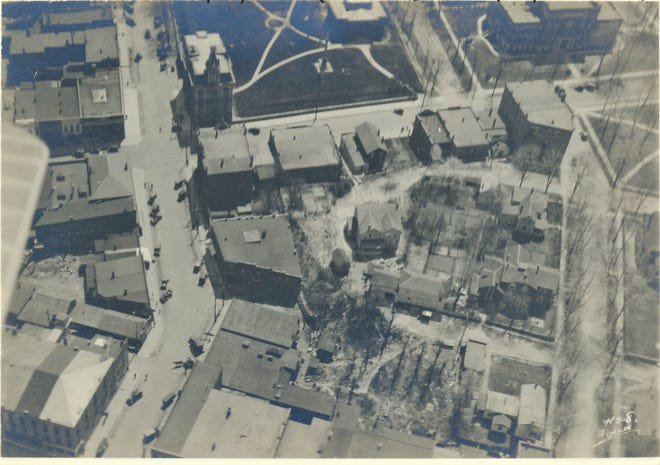 An 1920s aerial view of the old county courthouse.