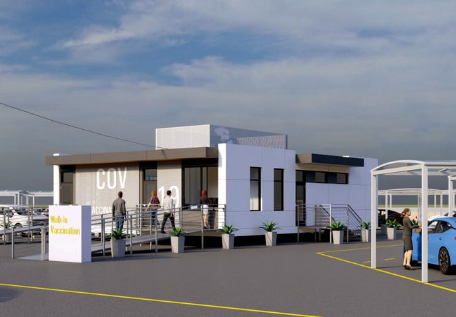 A rendering of The Boldt Company's new VaxMod modular building system. The prefabricated buildings are designed to more efficiently and effectively deliver vaccines and other health care services.