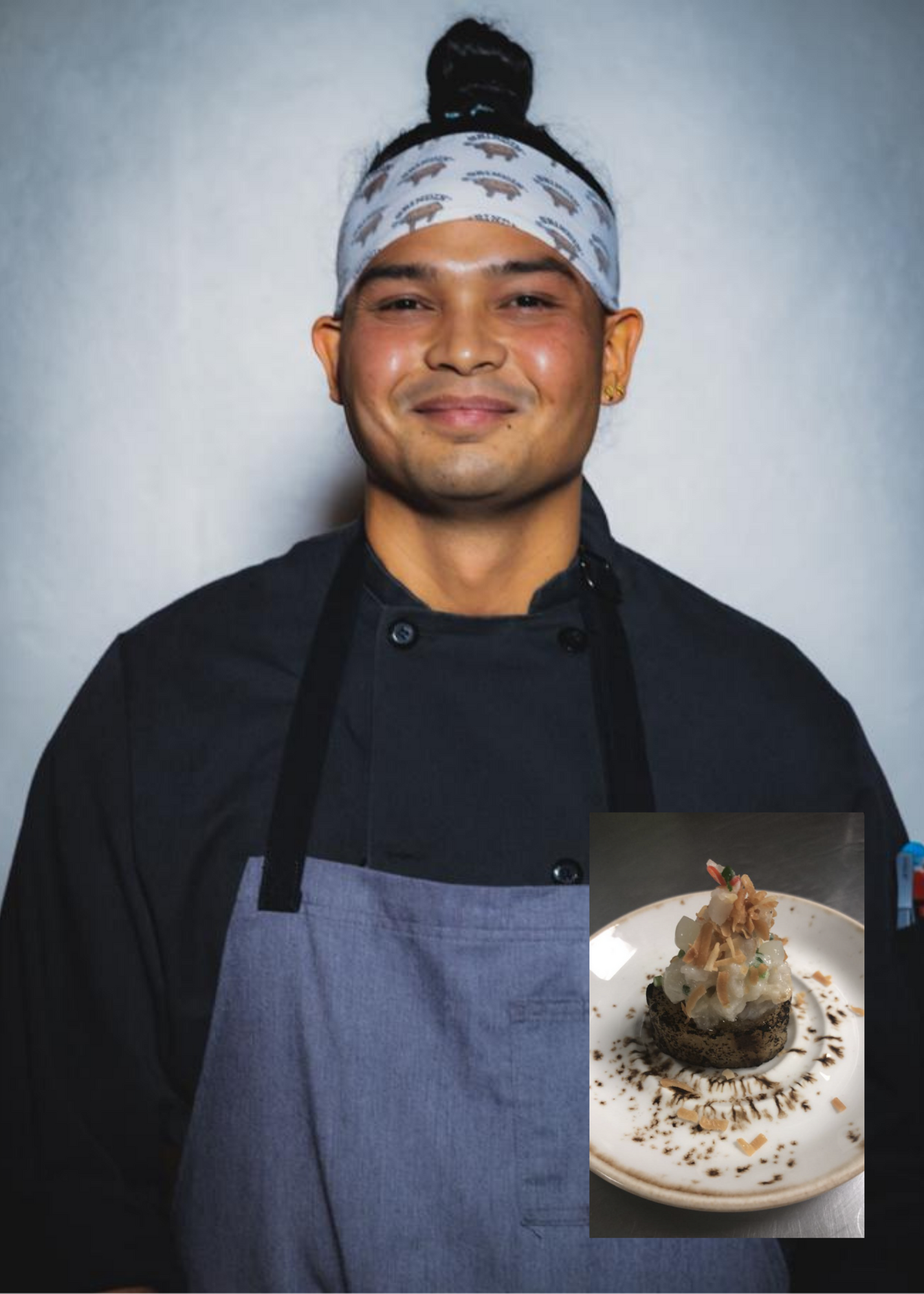 """Chef Gil Quichocho says his apigigi with scallop kelaguen, inset, reflects his culinary journey through its technique, product knowledge, taste and execution. """"It's how I see modern CHamoru cuisine to be, how I would like to present it to the world and put CHamoru cuisine on the map."""""""