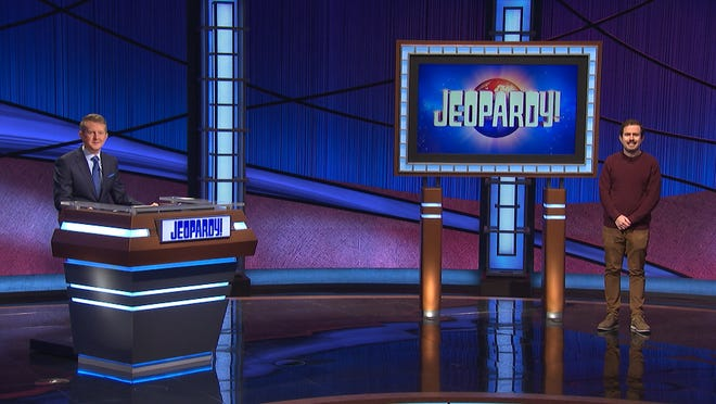 "Guest Host Ken Jennings with Mountain Lakes native Phil Hoffman after he won $14,195 on ""Jeopardy"" aired Monday, Feb. 15, 2021."