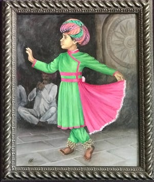"""Diminutive Dancer,"" by Pati Spark's, is an oil painting on canvas. She was inspired by a trip to Samode Palace in India. The painting is on display at Vera Mae's Bistro during Feburary."