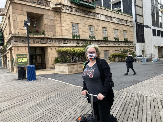 Lesley Kittler, 41, of Fair Lawn, New Jersey, visited Atlantic City to bid farewell to the former Trump Plaza Hotel.