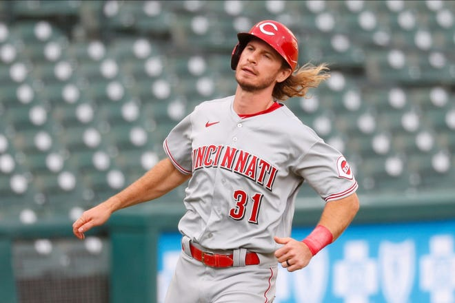 Cincinnati Reds' Travis Jankowski runs the bases against the Detroit Tigers in the sixth inning of the second baseball game of a doubleheader in Detroit, Sunday, Aug. 2, 2020. (AP Photo/Paul Sancya)