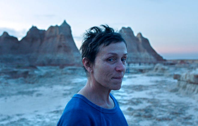 """Frances McDormand stars in """"Nomadland."""" The movie, and its star, are predicted to win top awards at Sunday's Oscar ceremony. The Academy Awards ceremony will air live at 8 p.m. Sunday on ABC."""