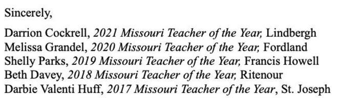 The Feb. 10 letter was signed by five Missouri Teacher of the Year winners, from 2017 to 2021.
