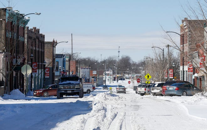 A look west on Commercial Street on Tuesday, Feb. 16, 2021.