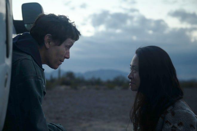 "Frances McDormand, left, and director/writer Chloé Zhao on the set of ""Nomadland."""