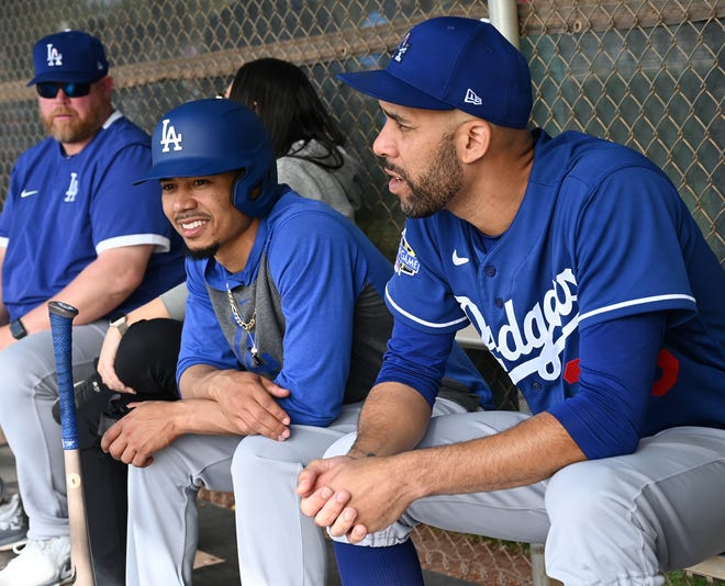 Dodgers outfielder Mookie Betts and pitcher David Price.