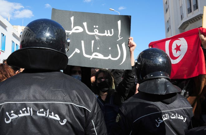 Protesters on Jan. 26, 2021, in Tunis, Tunisia.