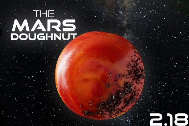 Krispy Kreme has the special Mars Doughnut only on Feb. 18.