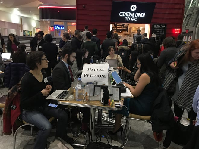 Immigration lawyers at John F. Kennedy International Airport in January 2017.