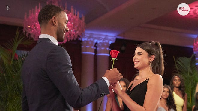 "Rachael is seen accepting a rose from Matt in a previous episode of ""The Bachelor."""