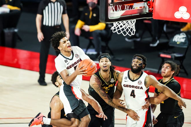 Georgia basketball player Justin Kier (5) during a game against Missouri at Stegeman Coliseum in Athens, Ga., on Tuesday, Feb. 16, 2021. (Photo by Tony Walsh)