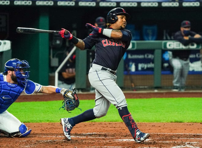 Cleveland third baseman Jose Ramirez, along with designated hitter Franmil Reyes, was sent home by the team after breaking COVID-19 protocols at spring training. [USA TODAY Network]