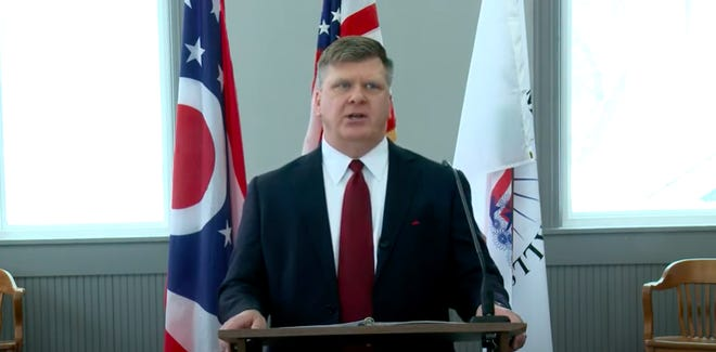 Munroe Falls Mayor James Armstrong virtually delivers his sixth state of the city address to the Stow-Munroe Falls Chamber of Commerce on Feb. 16.