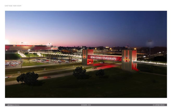 The proposed Gateway Bridge lights up the night in an architectural rendering. The bridge would carry pedestrians from the east side of Jack Trice Stadium to parking across University Boulevard.