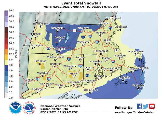 Looks like we could see up to 6 inches of snow on Cape Cod, likely falling late Thursday into Friday.