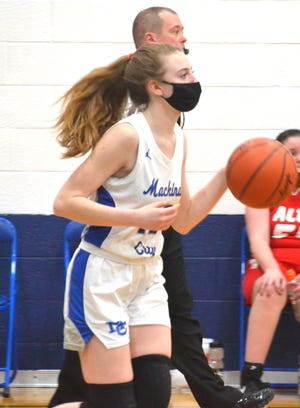Sophomore guard Larissa Huffman and the Mackinaw City varsity girls basketball team stayed unbeaten with a victory at Alanson on Tuesday.