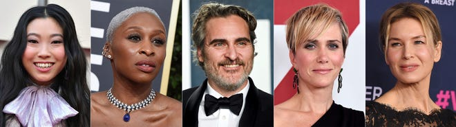 This combination photo shows, from left, Awkwafina, Cynthia Erivo, Joaquin Phoenix, Kristen Wiig and Renee Zellweger, who are among the first presenters announced for the Golden Globes awards ceremony.