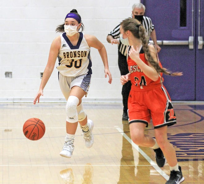 Bronson's Hayley Wilson, shown here in early season action versus Leslie, sank a free throw with no time on the clock to give the Vikings a dramatic win over Concord Tuesday night.