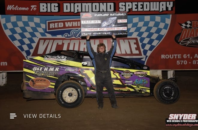 Pictured is Western Wayne senior Tyler Peet.  The photo was taken in October of 2020 when Tyler won a race at the Big Diamond Speedway in Pottsville and received a $1,500 dollar prize.